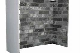greyscaled brick fire place surround