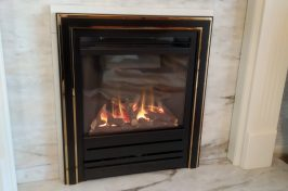 Nu Flame Energis Gas Fire with Satin Black Modern Frame and Black Brass Silhouette Trim