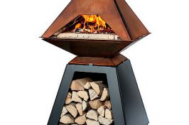 Pyramid outdoor fire with log store